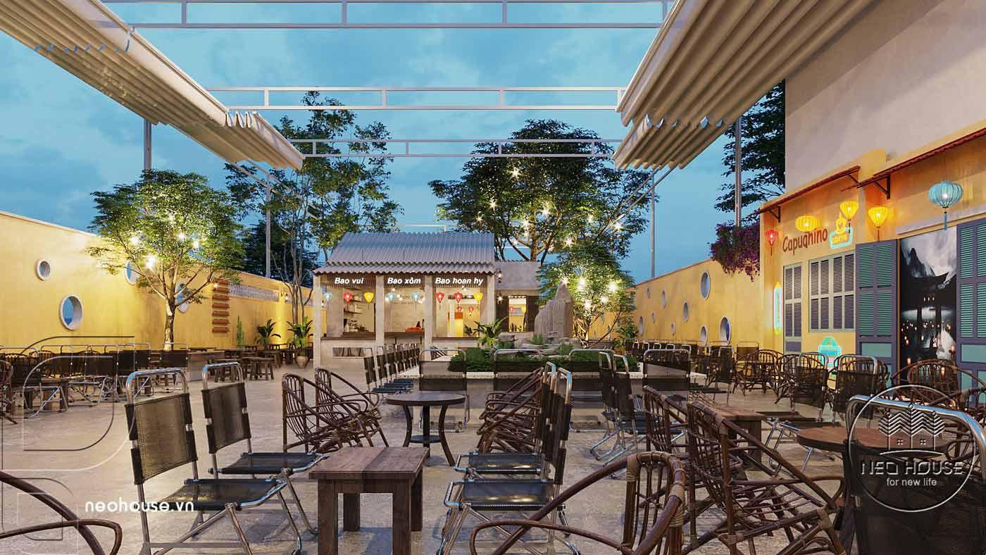 Thiết kế quán cà phê sân vườn 14x45m pha chút nét cổ Hội An. Ảnh 3