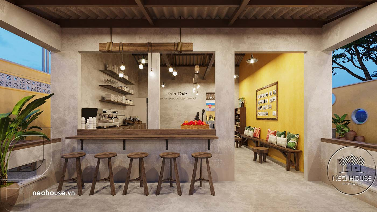 Thiết kế quán cà phê sân vườn 14x45m pha chút nét cổ Hội An. Ảnh 5