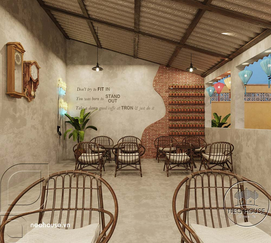 Thiết kế quán cà phê sân vườn 14x45m pha chút nét cổ Hội An. Ảnh 6