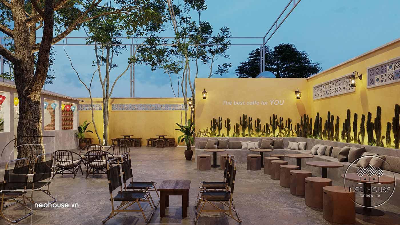 Thiết kế quán cà phê sân vườn 14x45m pha chút nét cổ Hội An. Ảnh 11
