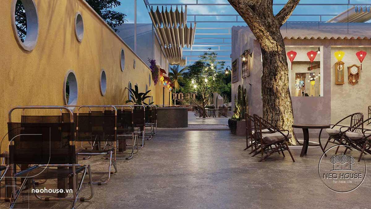 Thiết kế quán cà phê sân vườn 14x45m pha chút nét cổ Hội An. Ảnh 10