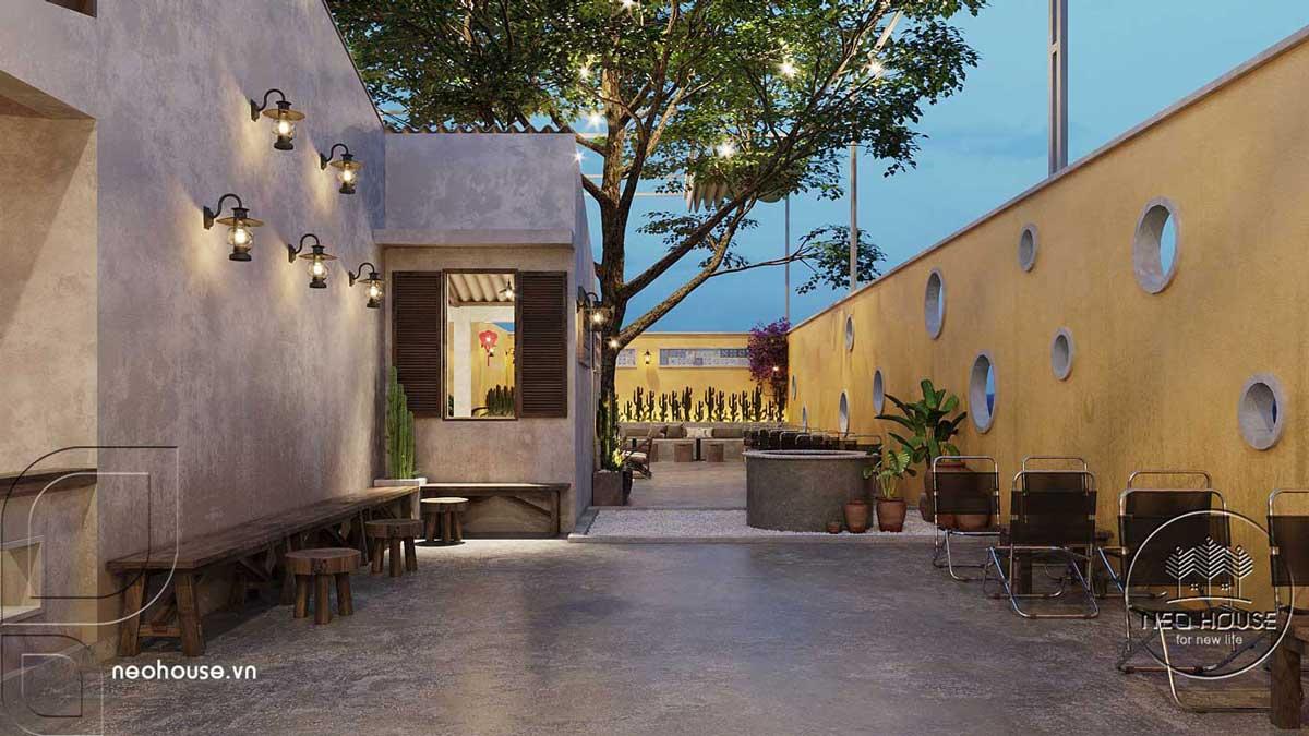 Thiết kế quán cà phê sân vườn 14x45m pha chút nét cổ Hội An. Ảnh 9