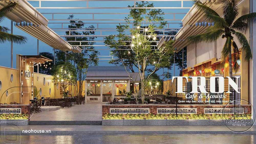 Thiết kế quán cà phê sân vườn 14x45m pha chút nét cổ Hội An. Ảnh 1