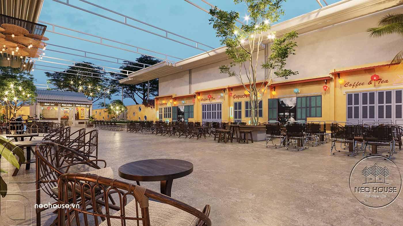 Thiết kế quán cà phê sân vườn 14x45m pha chút nét cổ Hội An. Ảnh 2
