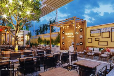 Thiết Kế Và Thi Công Quán Cafe Sân Vườn Trọn Gói 8x26m Tại Bình Phước – NT43