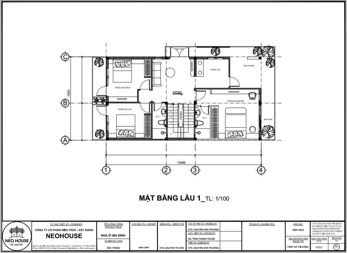 Mặt bằng lầu 1 biệt thự phố 2 tầng hiện đại