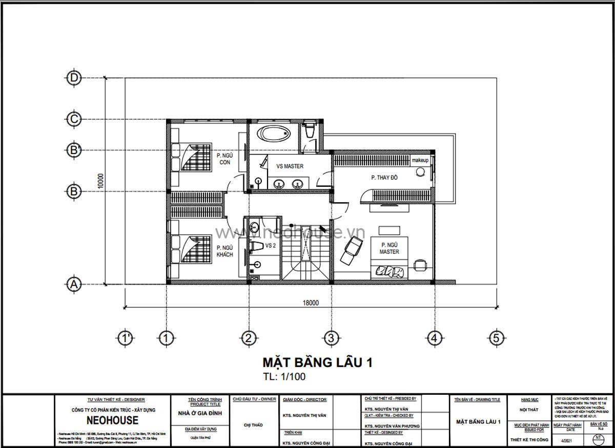 Mặt bằng lầu 1 mẫu nhà biệt thự 3 tầng hiện đại
