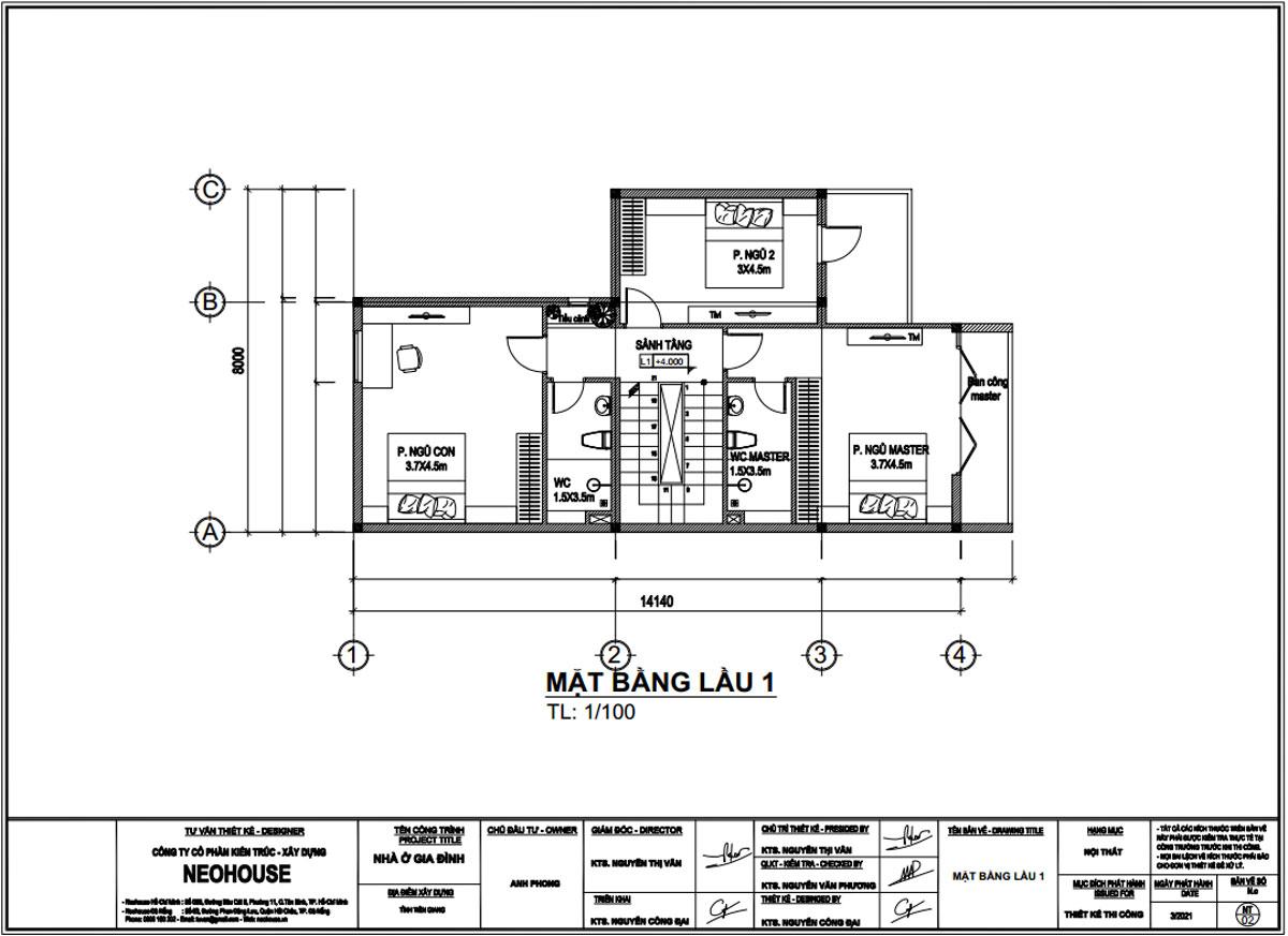 Mặt bằng lầu 1 mẫu nhà biệt thự phố 3 tầng