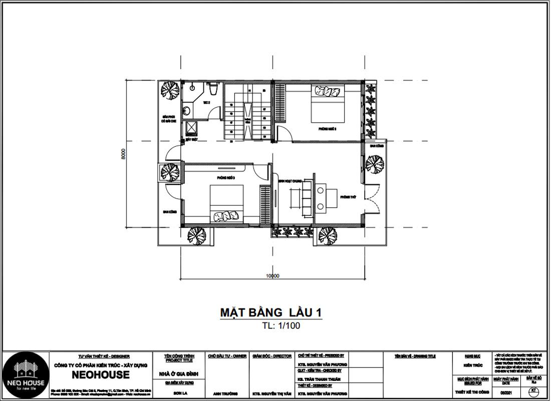 Mặt bằng công năng lầu 1 mẫu nhà phố mặt tiền 8m 2 tầng