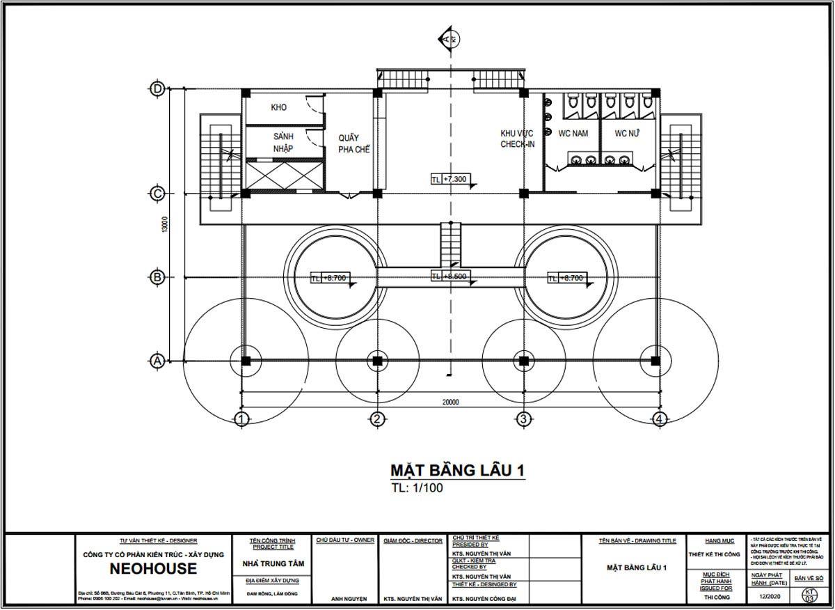 Mặt bằng lầu 1 thiết kế trạm dừng chân 13x20m