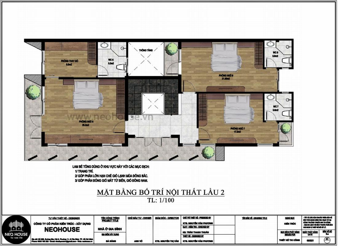 Mặt bằng lầu 2 thiết kế nhà phố chiều rộng 7m