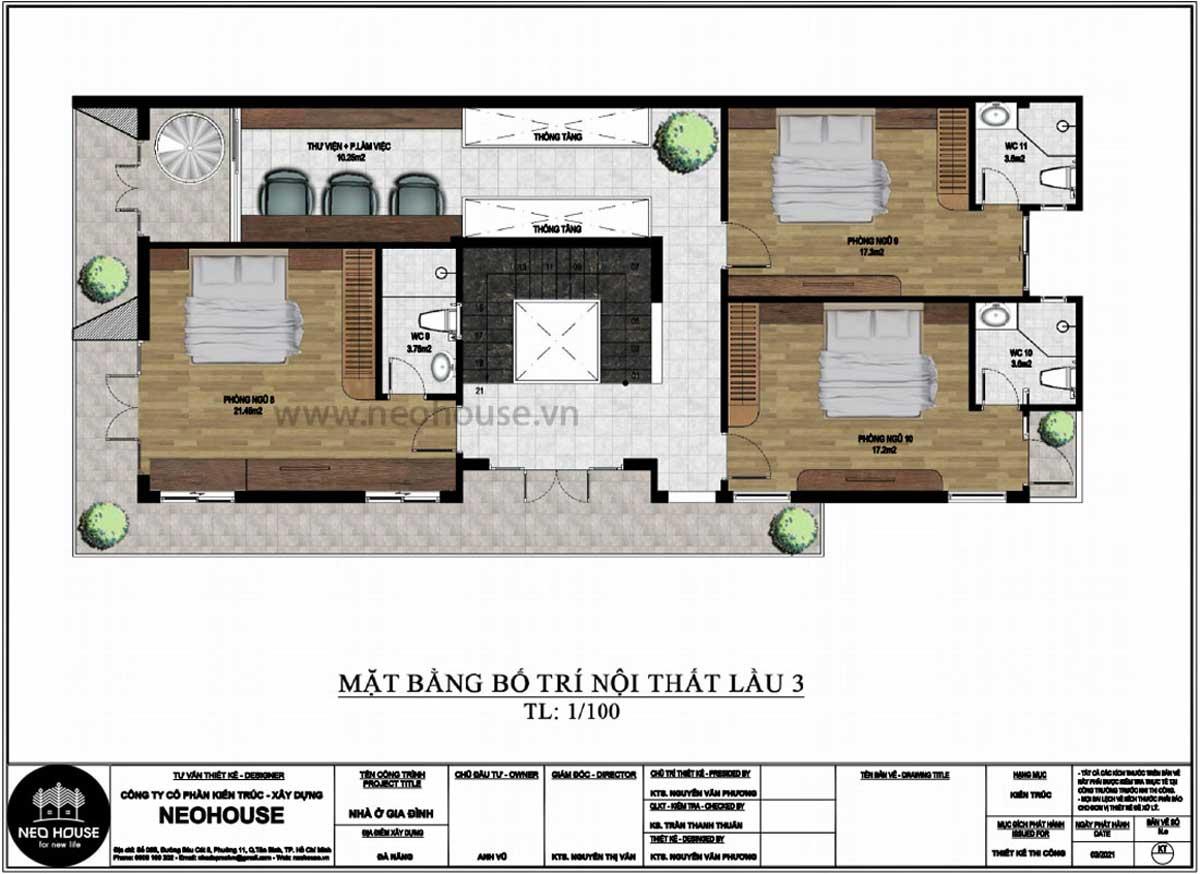 Mặt bằng lầu 3 thiết kế nhà phố chiều rộng 7m