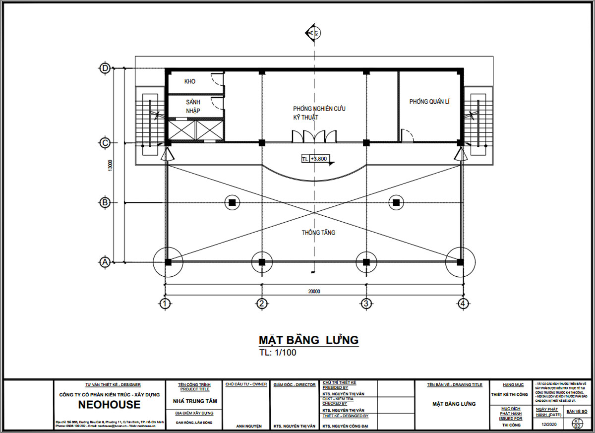 Mặt bằng tầng lửng thiết kế trạm dừng chân 13x20m