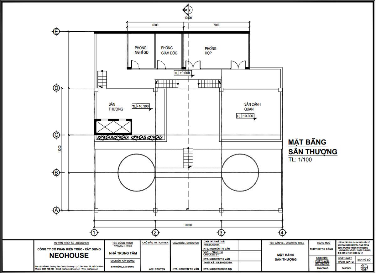 Mặt bằng tầng thuong thiết kế trạm dừng chân 13x20m