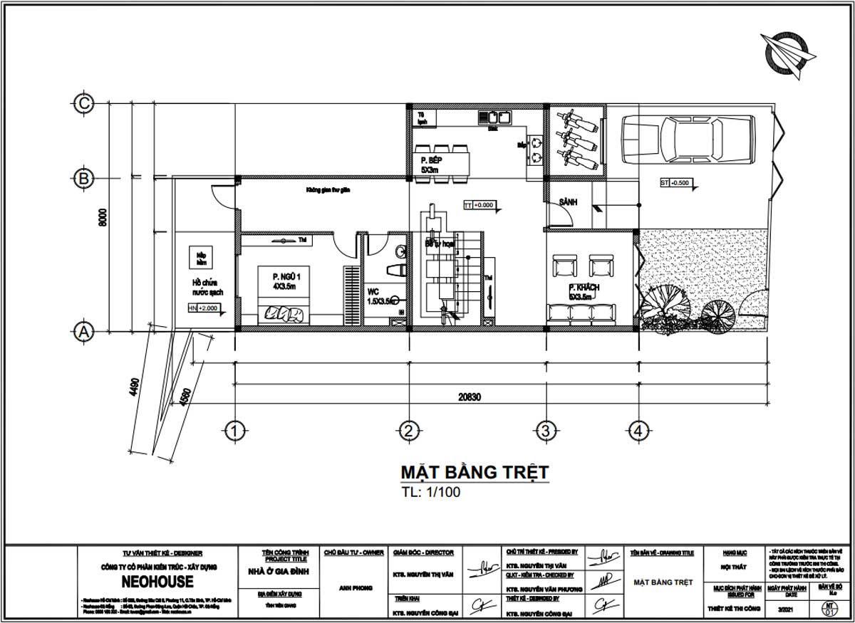Mặt bằng tầng trệt mẫu nhà biệt thự phố 3 tầng