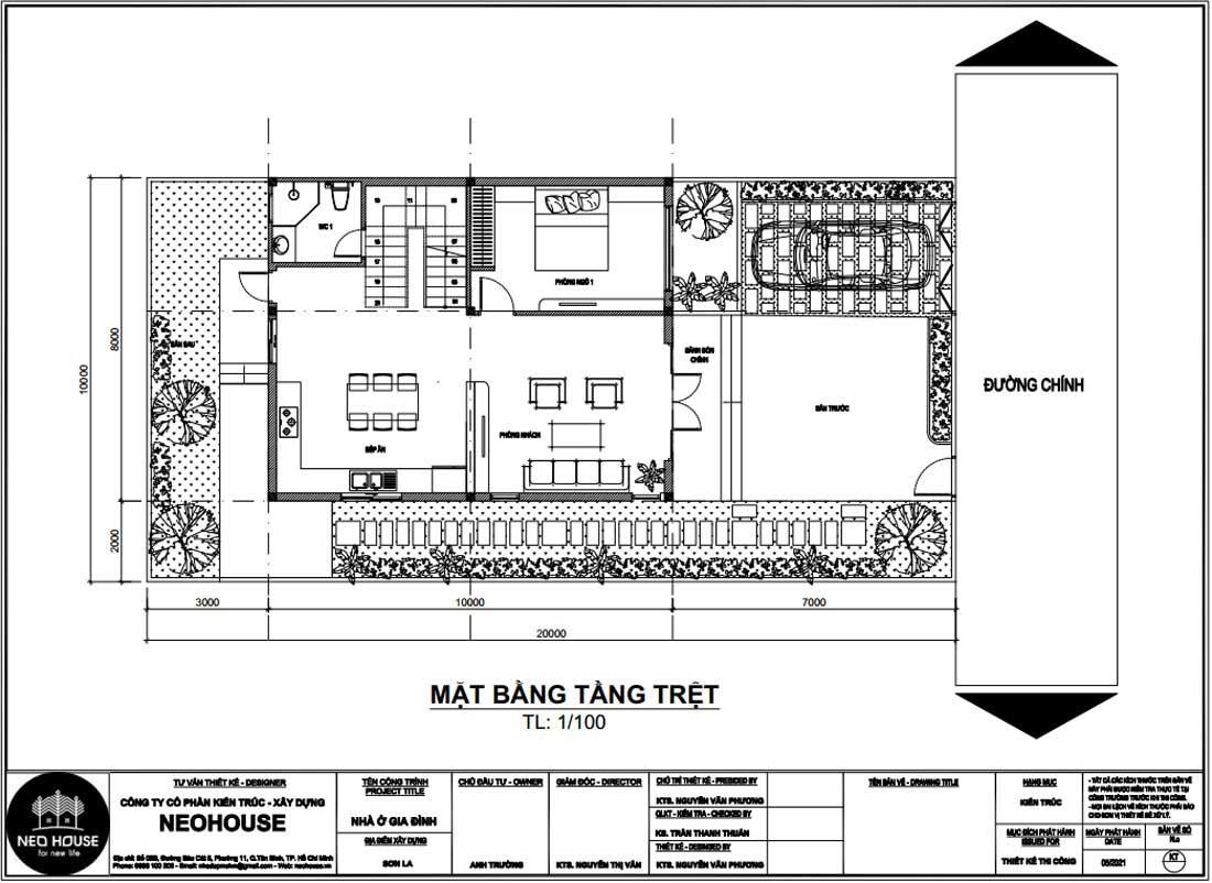 Mặt bằng công năng tầng trệt mẫu nhà phố mặt tiền 8m 2 tầng