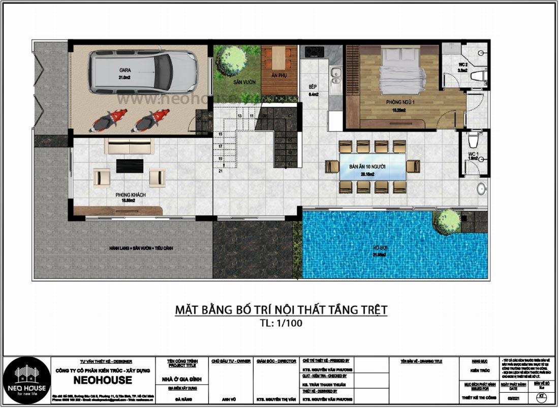 Mặt bằng tầng trệt thiết kế nhà phố chiều rộng 7m