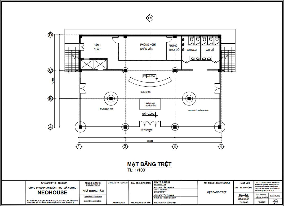 Mặt bằng tầng trệt thiết kế trạm dừng chân 13x20m