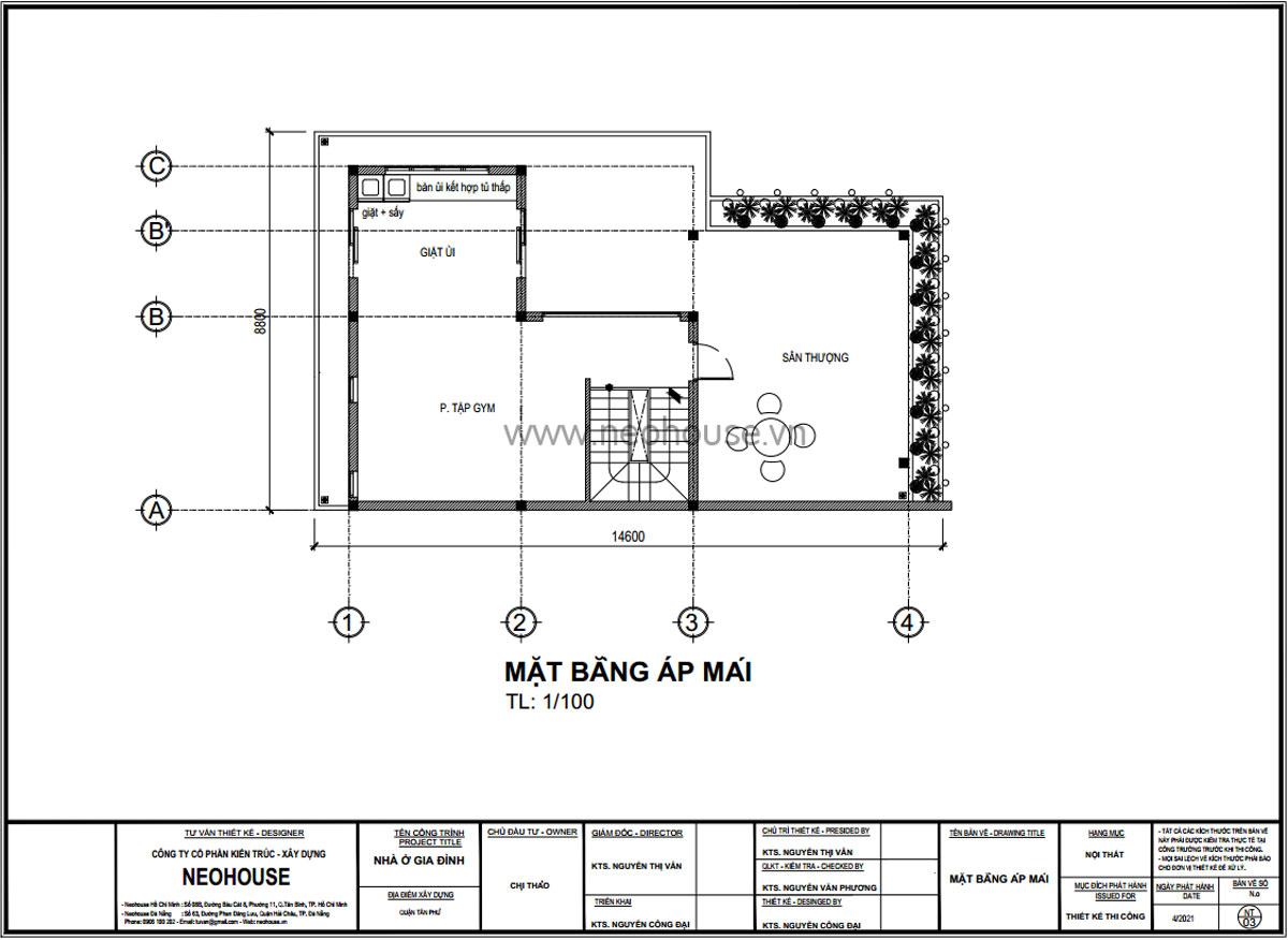 Mặt bằng tầng tum mẫu nhà biệt thự 3 tầng hiện đại