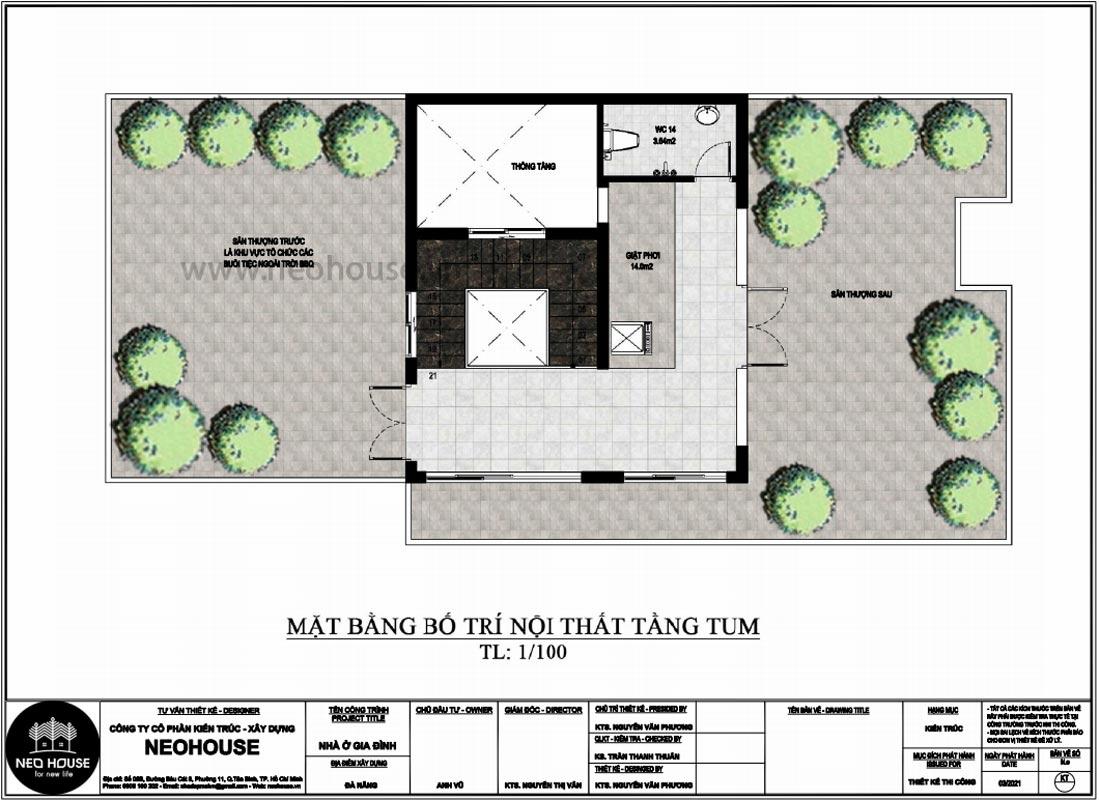 Mặt bằng tầng tum thiết kế nhà phố chiều rộng 7m