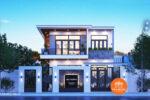 Mẫu Nhà Phố Mặt Tiền 8m 2 Tầng Đẹp Mái Bằng Tại Sơn La – NP49