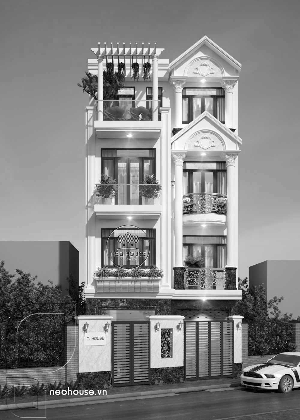 Nhà phố tân cổ điển 4 tầng. Ảnh 2