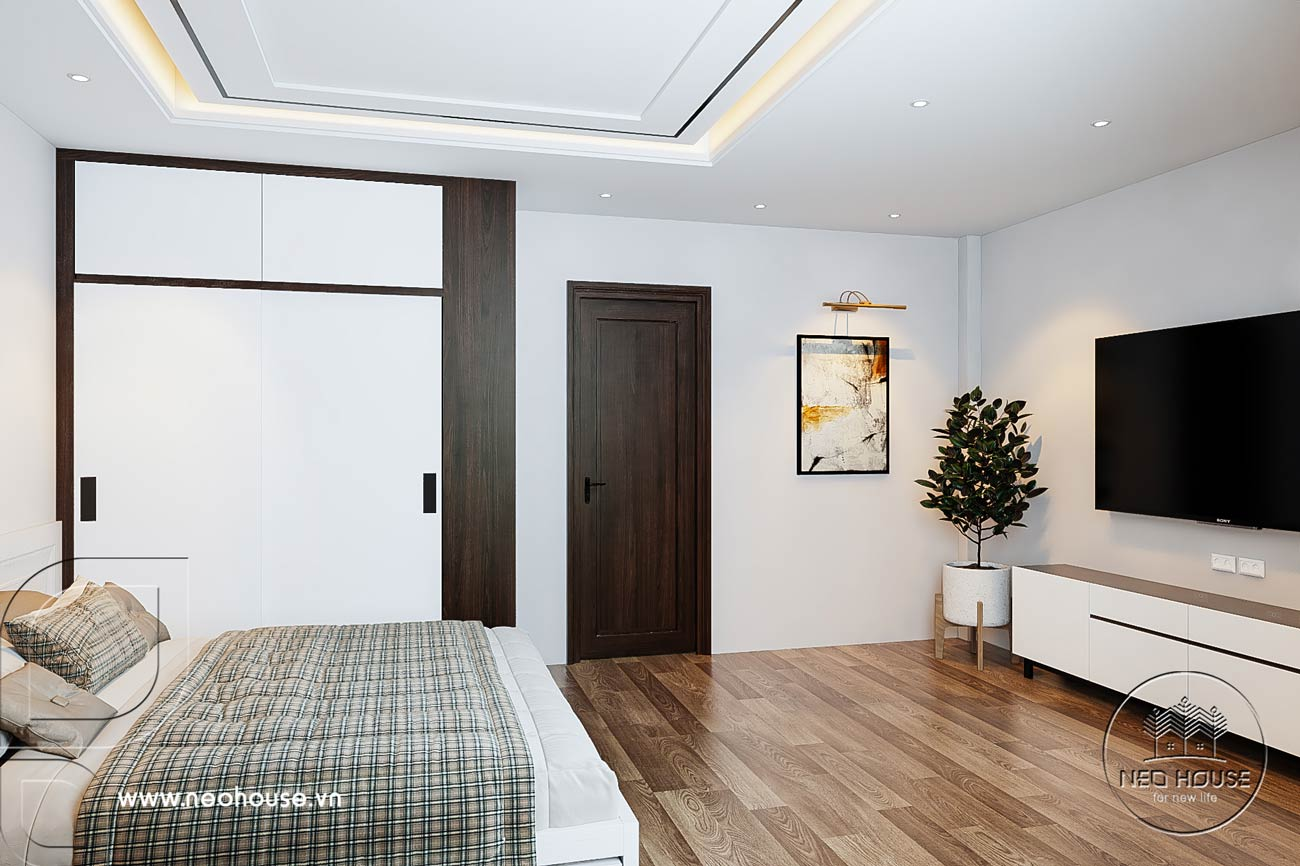 Nội thất nhà phố 5m với không gian phòng ngủ ông bà. Ảnh 2