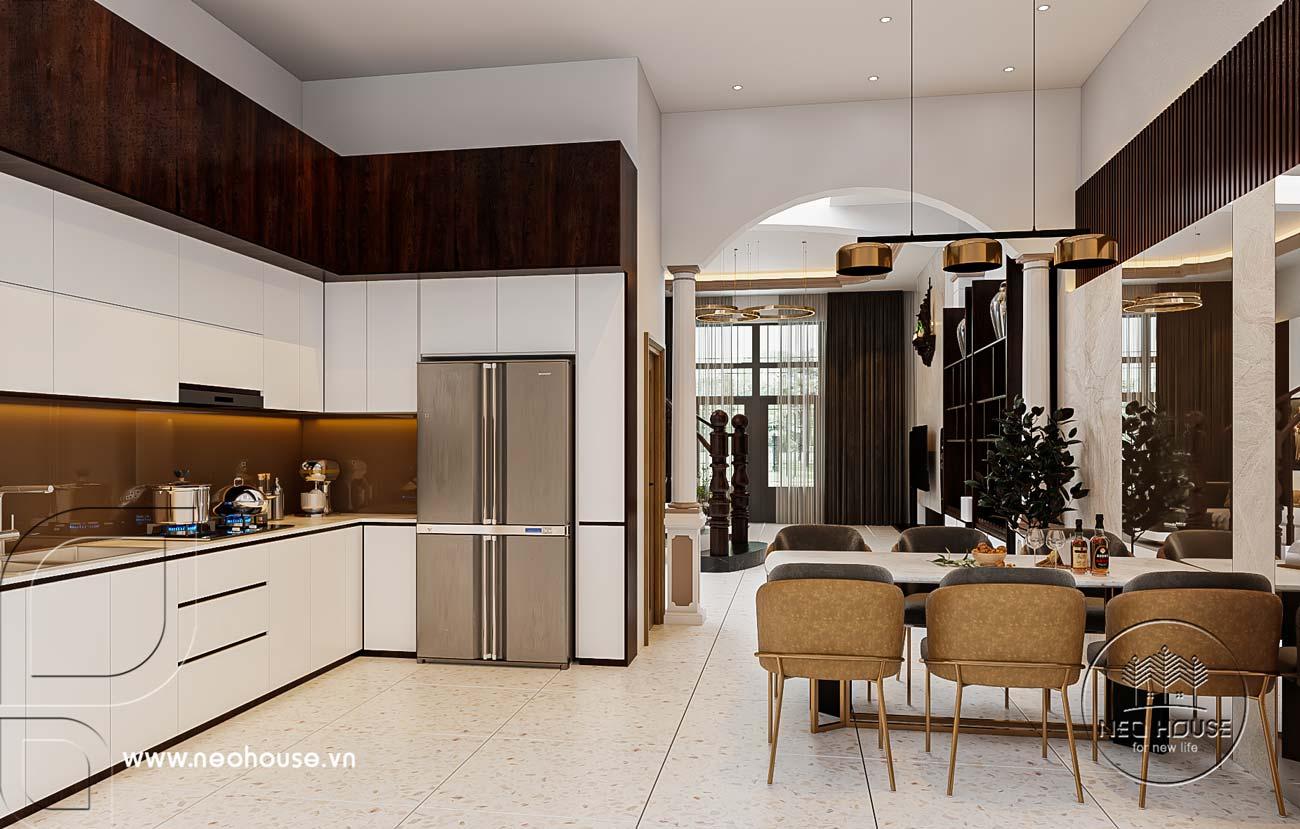 Nội thất nhà phố 5m với không gian phòng bếp