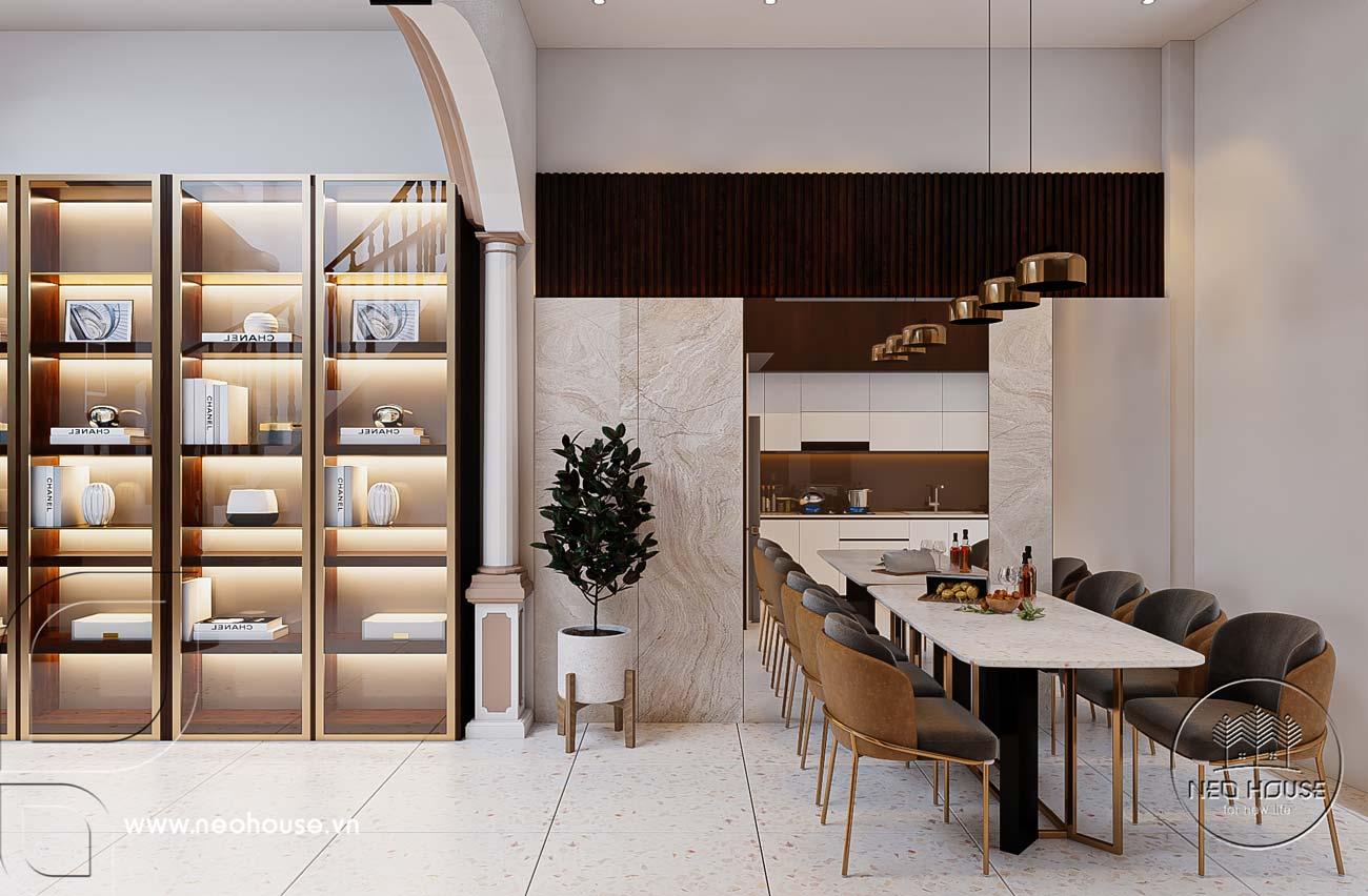 Nội thất nhà phố 5m với không gian phòng ăn