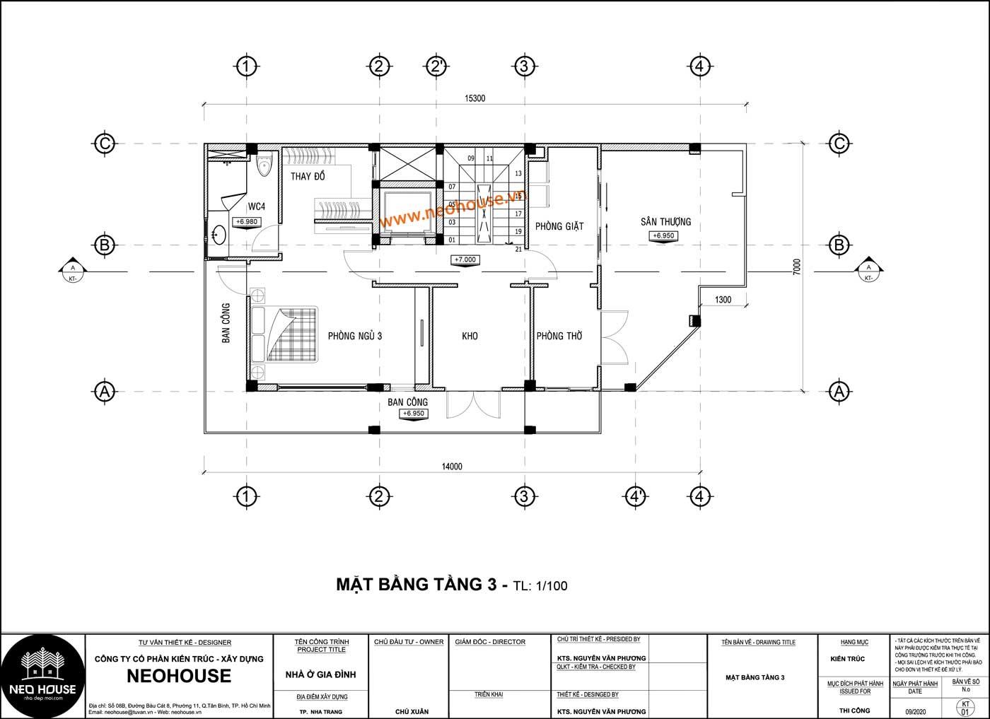 Mặt bằng lầu 2 mẫu biệt thự 3 tầng 7x14m