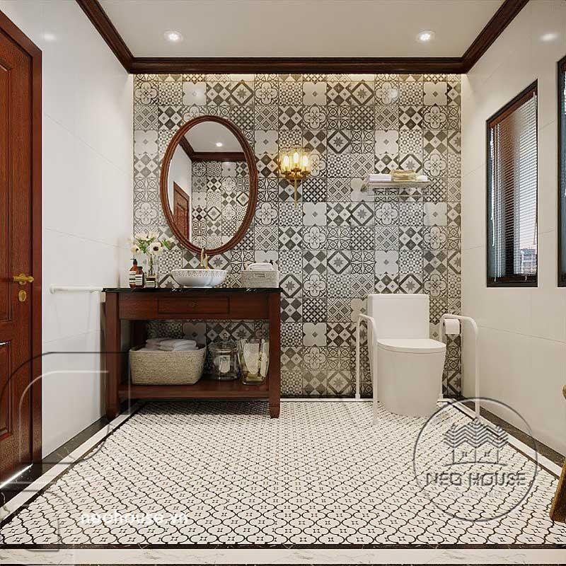 Thiết kế nội thất phòng tắm ông bà phong cách Indochine. Ảnh 2