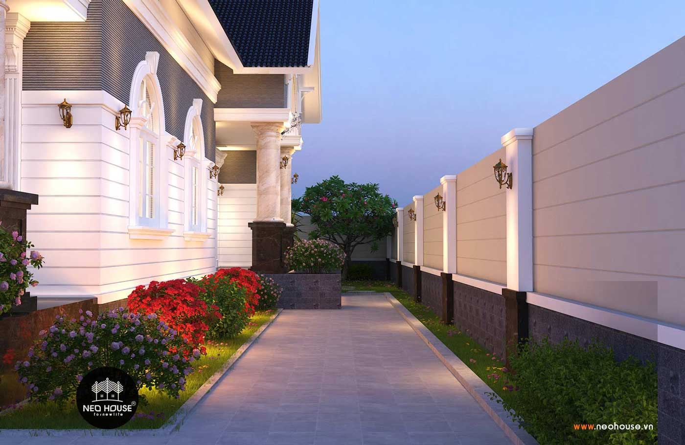 Thiết kế thi công nhà biệt thự vườn 1 tầng 180m2. Ảnh 3