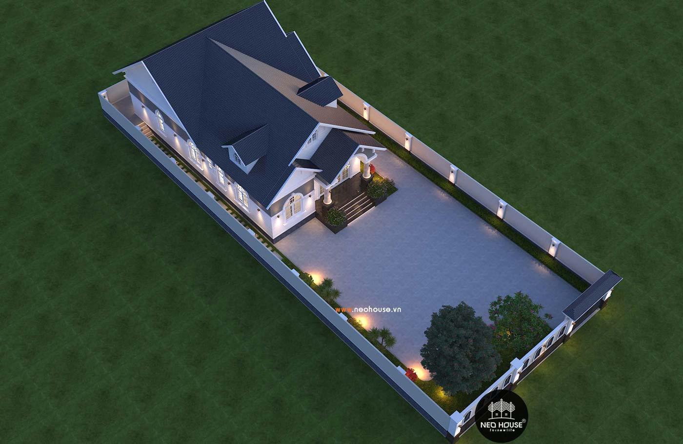 Thiết kế thi công nhà biệt thự vườn 1 tầng 180m2. Ảnh 4