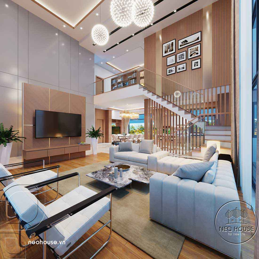 Thiết kế nội thất biệt thự cao cấp 2 tầng. Ảnh 1