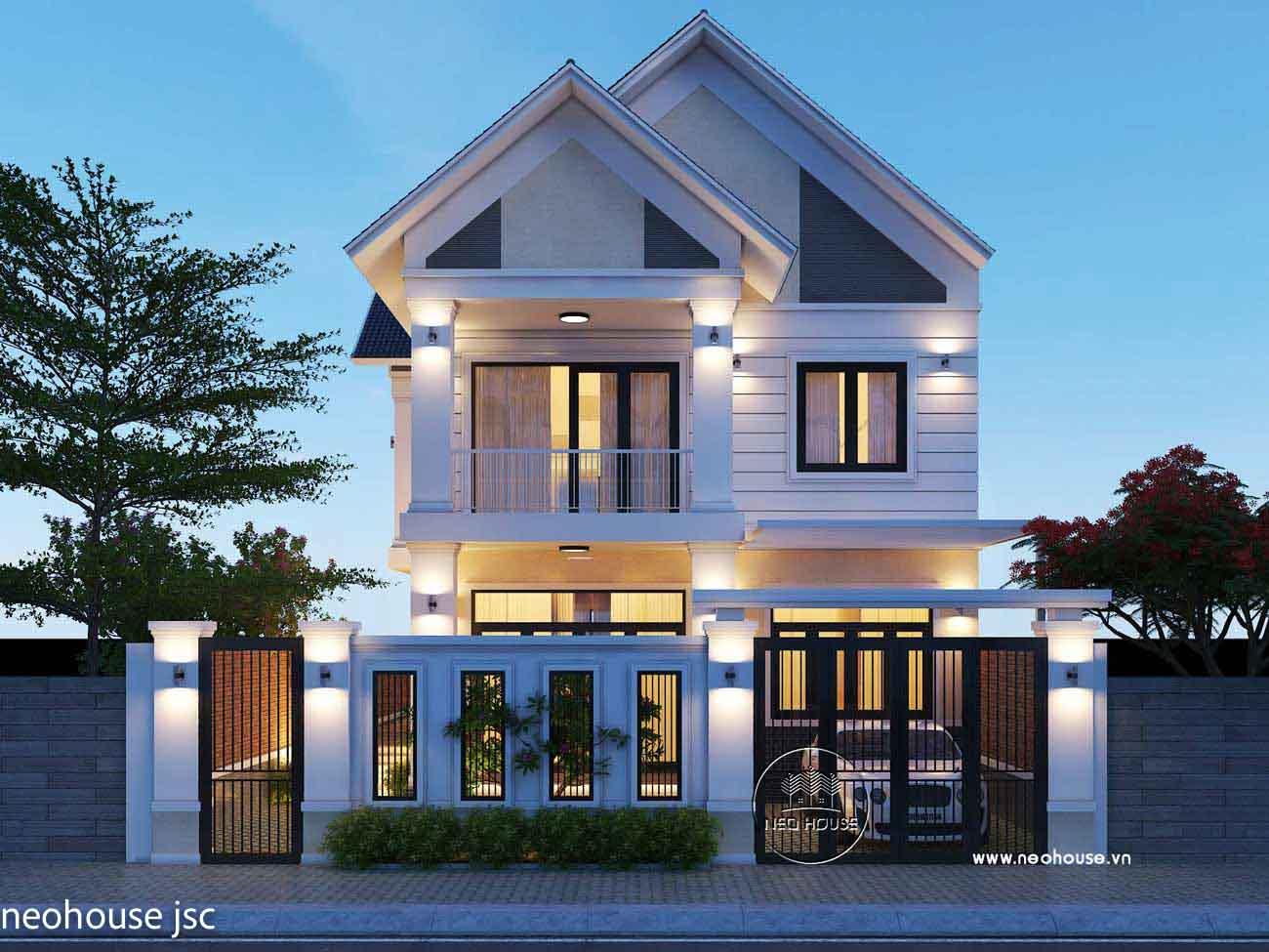 Phối cảnh mẫu thiết kế thi công nhà đẹp 2 tầng. Ảnh 1