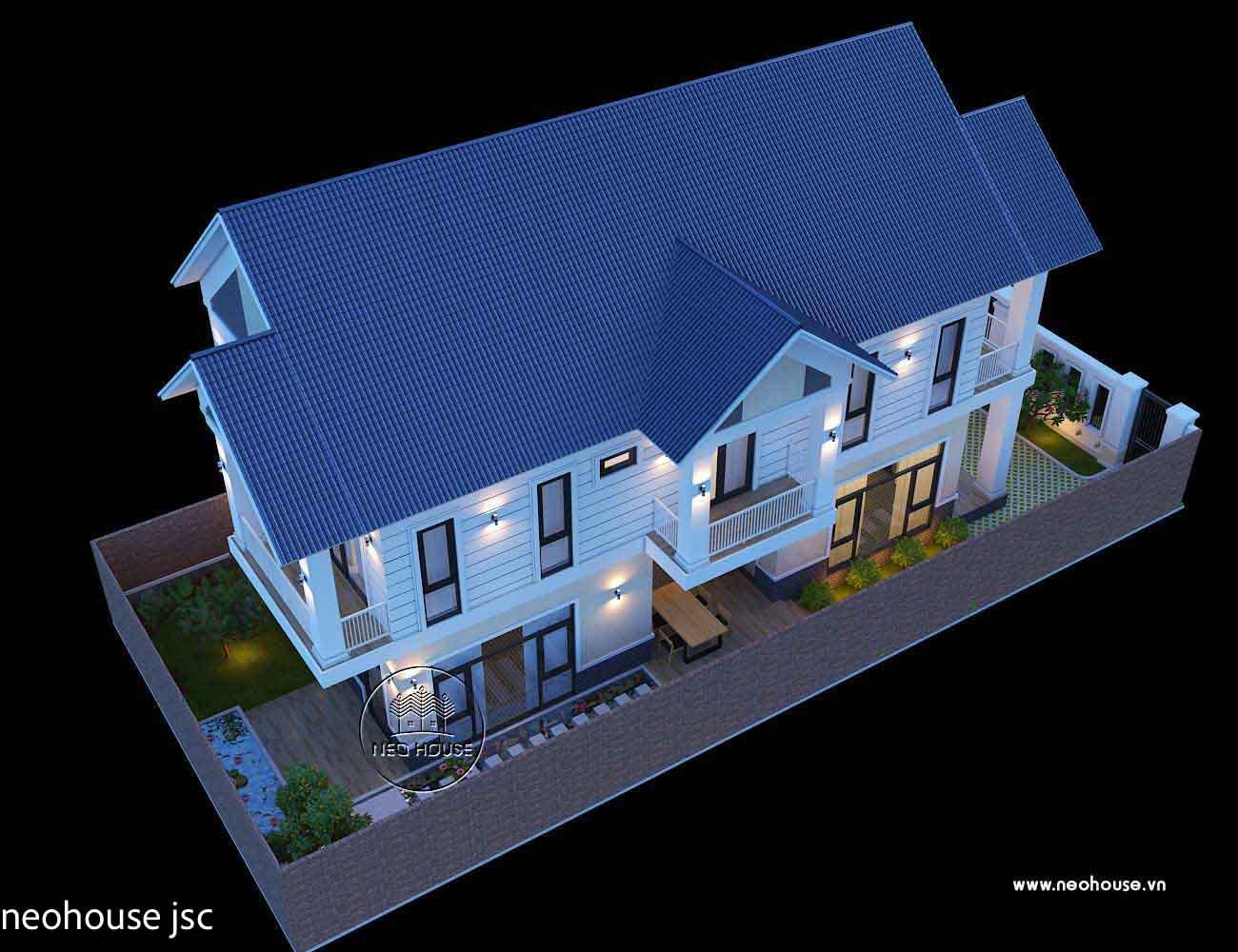 Phối cảnh mẫu thiết kế thi công nhà đẹp 2 tầng. Ảnh 3