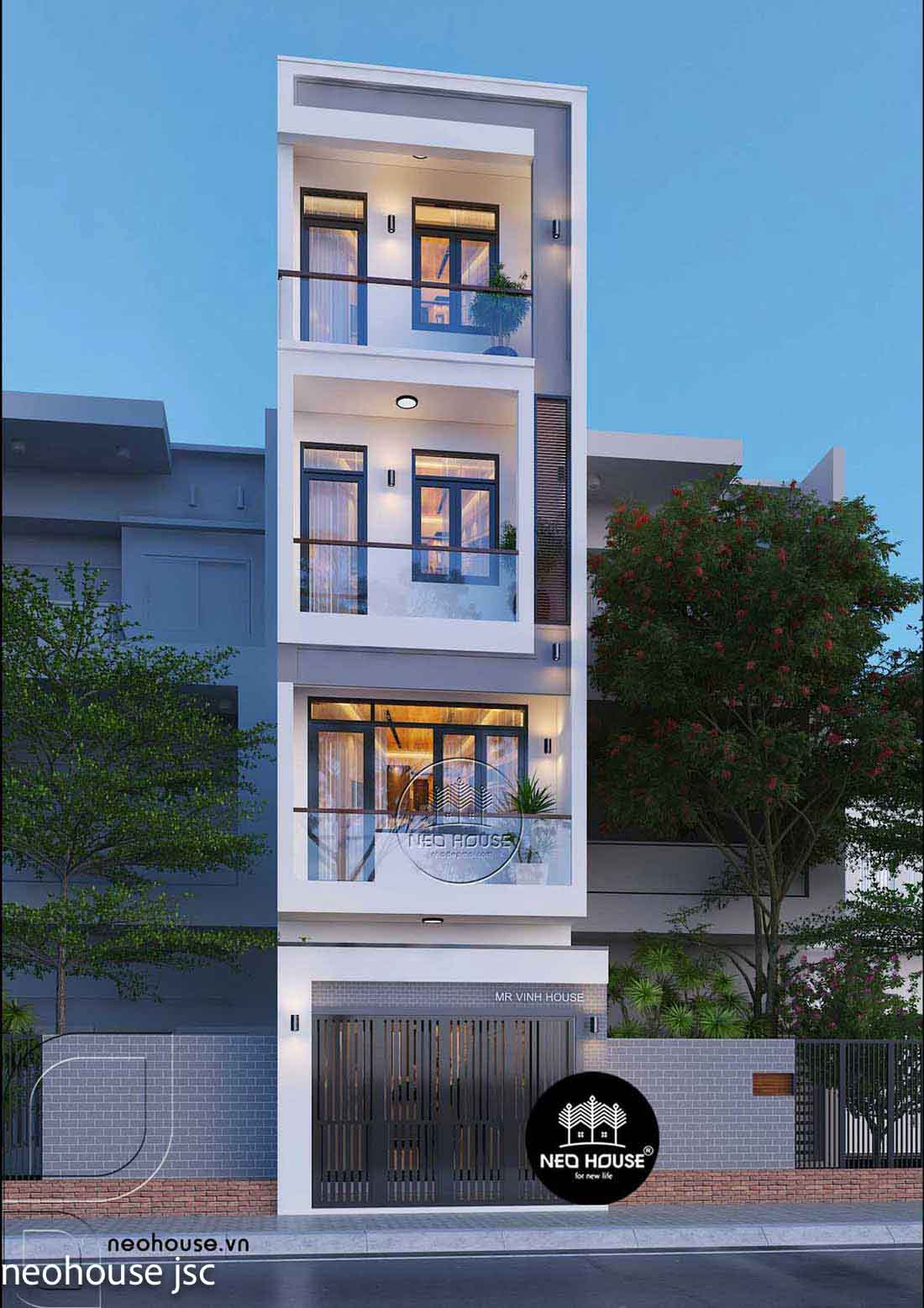 Thiết kế xây dựng nhà phố 4 tầng. Ảnh 1