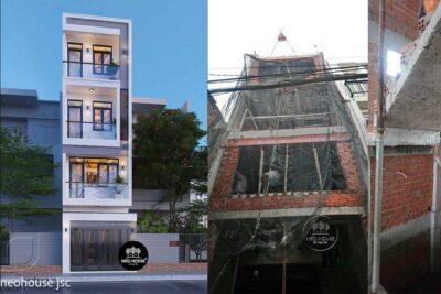 Thiết Kế Xây Dựng Nhà Phố Hiện Đại 4 Tầng 80m2 Tại Quận Tân Phú – TC011