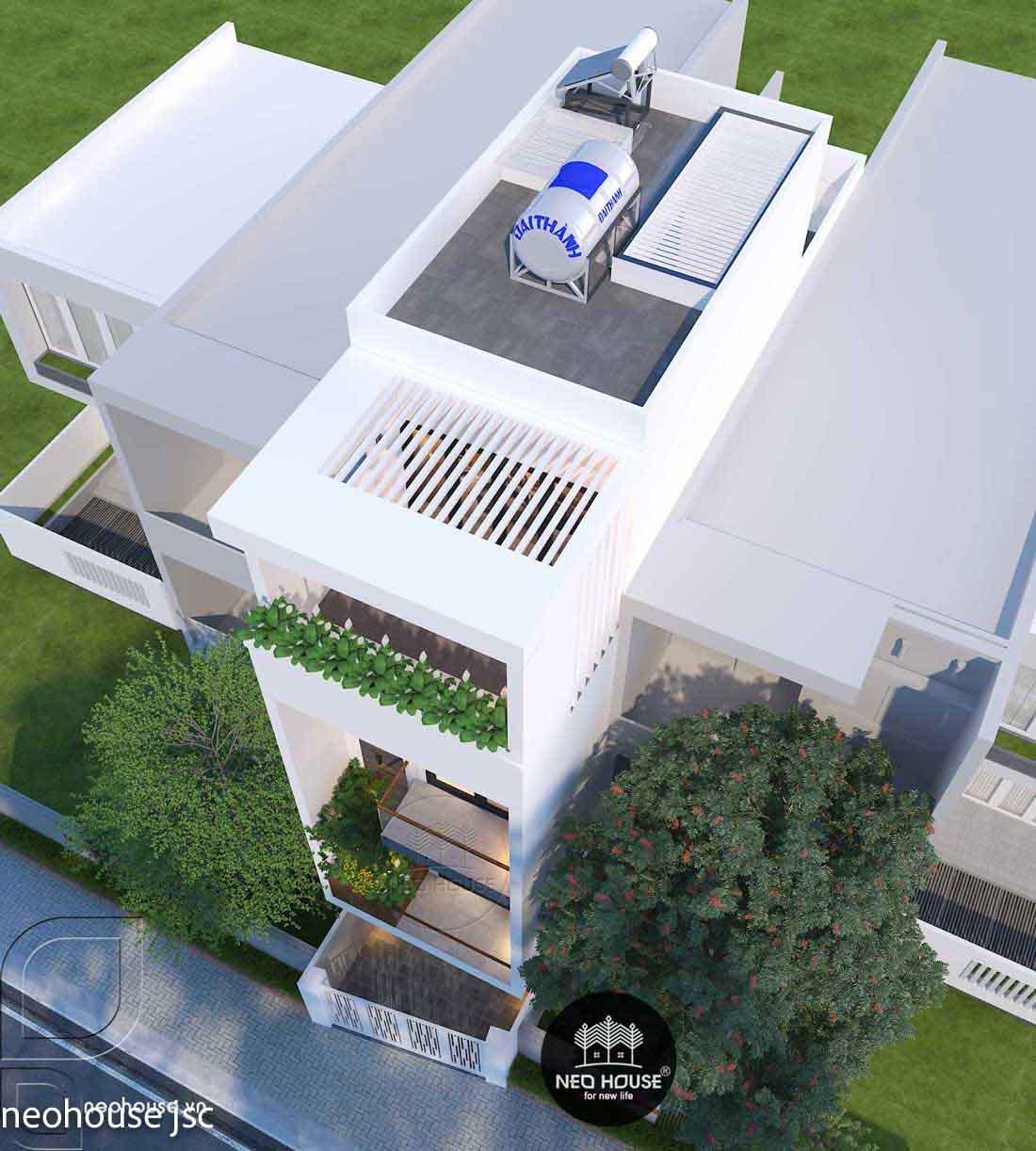 Phối cảnh thiết kế xây dựng nhà phố 4 tầng. Ảnh 2
