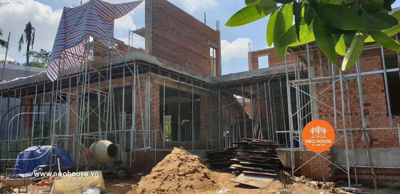 Hình ảnh hoàn thiện phần thô nhà biệt thự vườn 2 tầng mái thái. Ảnh 1