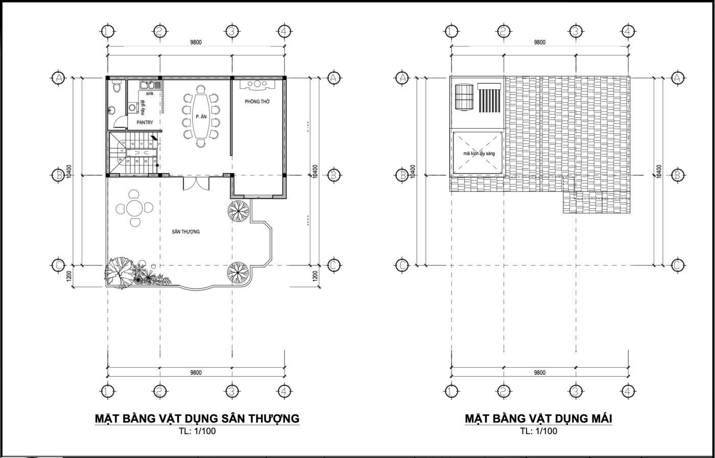 Mặt bằng tầng thượng và mặt bằng mái biệt thự phố 3 tầng hiện đại