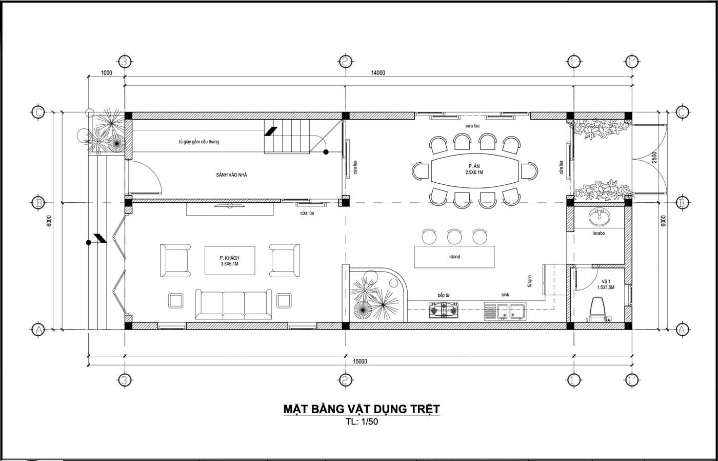 Mặt bằng công năng tầng trệt mẫu nhà phố mặt tiền 6m