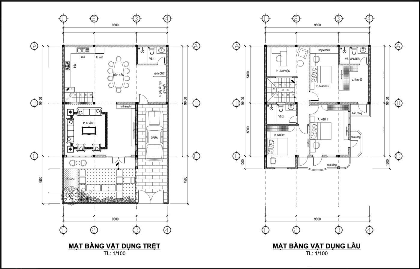 Mặt bằng tầng trệt và lầu 1 biệt thự phố 3 tầng hiện đại