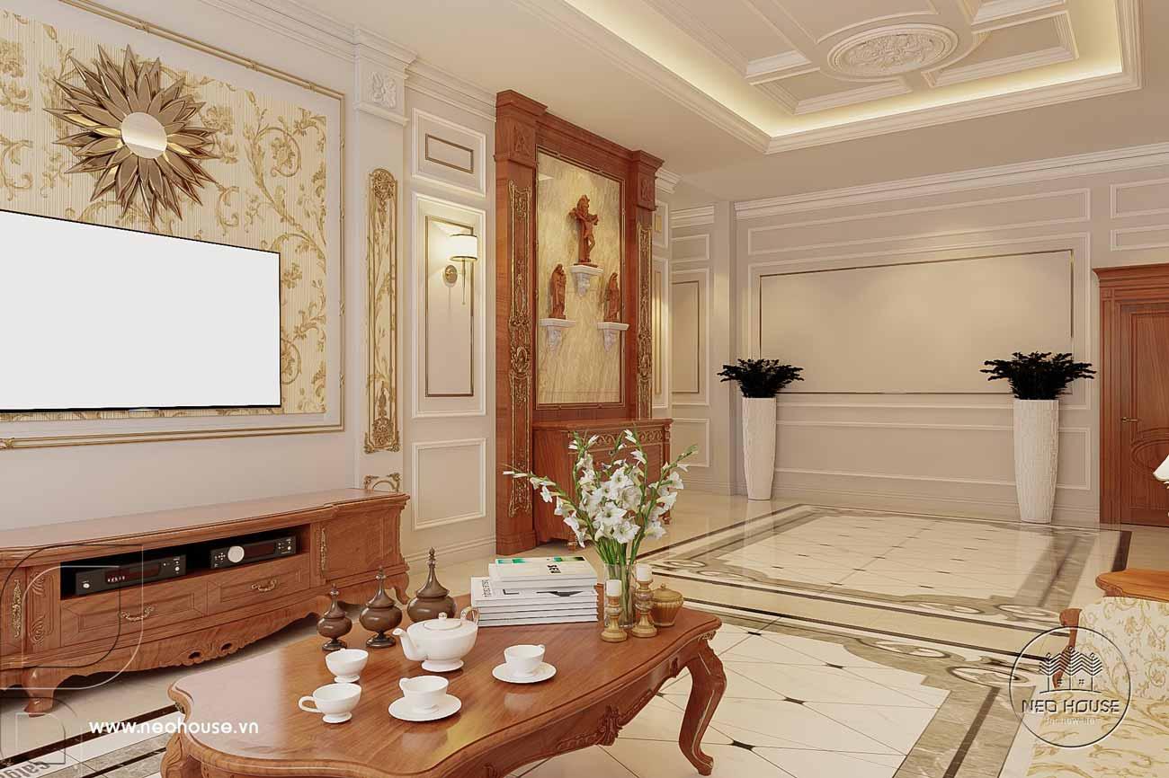 Thiết kế nội thất nhà tân cổ điển 1 tầng. Ảnh 3