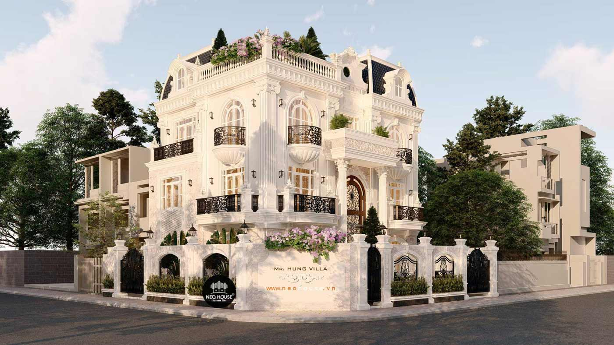 Thiết kế biệt thự kiểu Pháp 3 tầng 1 tum. Ảnh 2