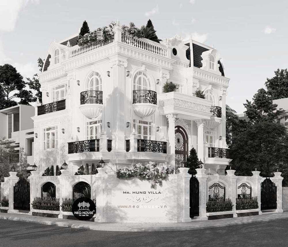Thiết kế biệt thự kiểu Pháp 3 tầng 1 tum. Ảnh 4
