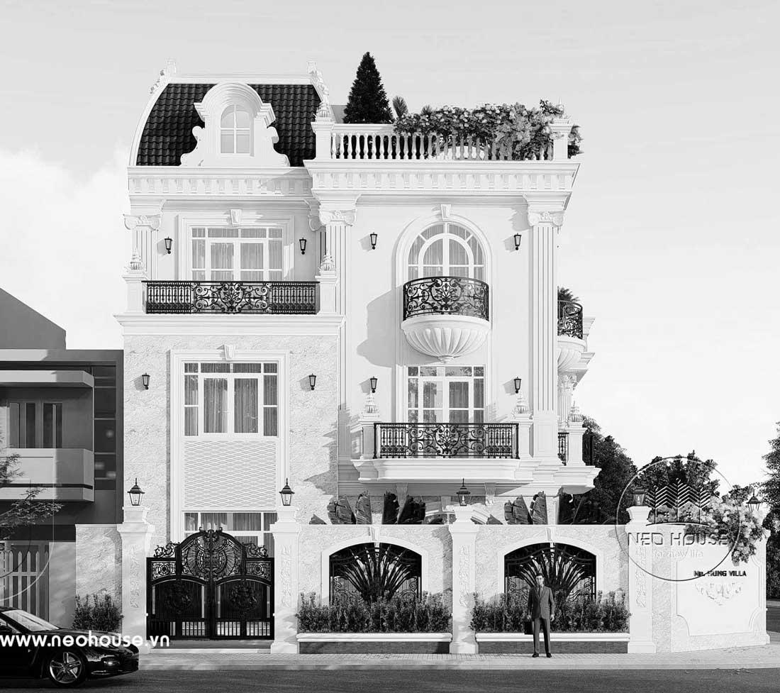 Thiết kế biệt thự kiểu Pháp 3 tầng 1 tum. Ảnh 5