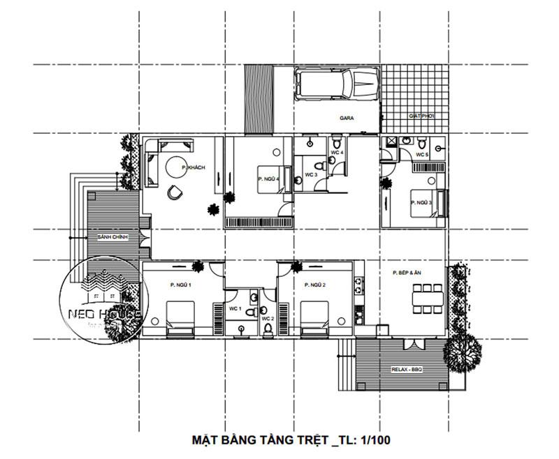 Mặt bằng biệt thự 1 tầng. Ảnh 11