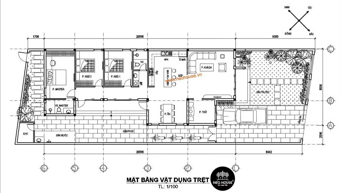 Mặt bằng công năng nhà cấp 4 nông thôn 3 phòng ngủ 8x20m tại Bình Phước