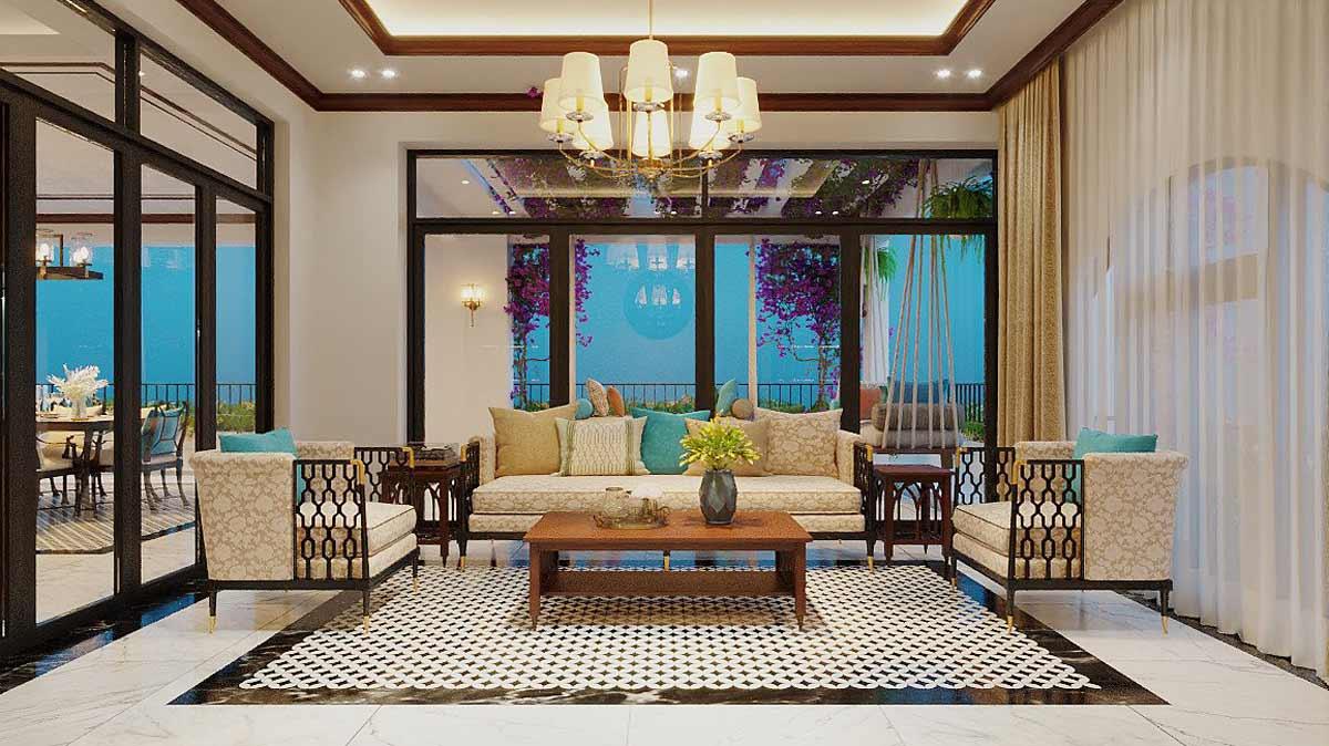 Nội thất nhà biệt thự đẹp 180m2 phong cách Indochine. Ảnh 1